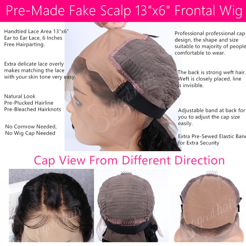 "Deep Curly 13""x6"" Fake Scalp Lace Frontal Wig"