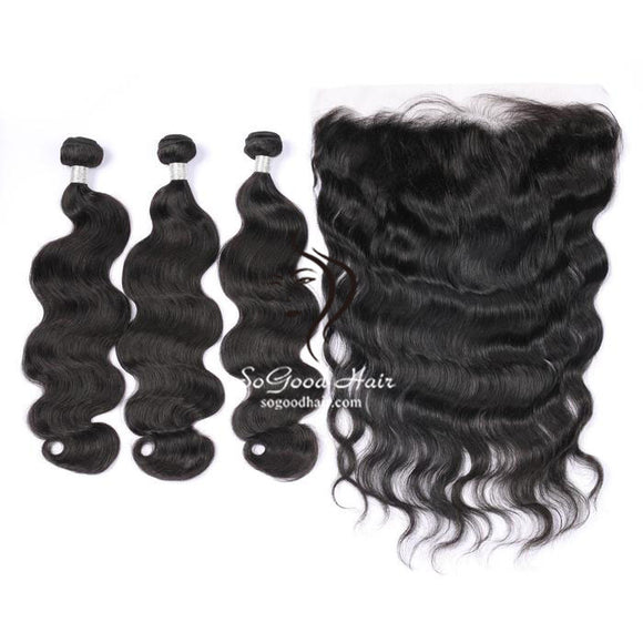 3 Bundles With 13x4 Lace Frontal Body Wave - sogoodhair