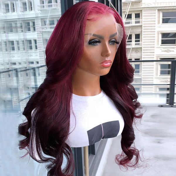 Ariel Body Wave Lace Frontal Wig | 150% Density Burgundy Wine Red