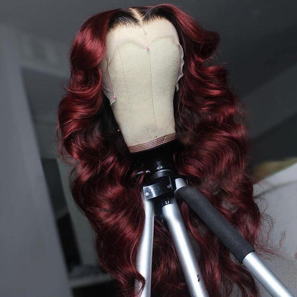 Black Roots Vibrant Burgundy Loose Wave Lace Frontal Wig