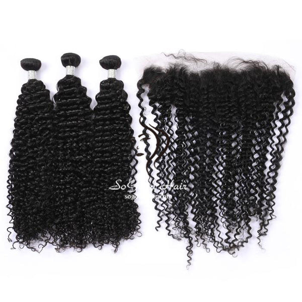 3 Bundles With Frontal Deep Curly Natural Color Malaysian Virgin Hair 10-24inch SoGoodHair--SG5132 - sogoodhair