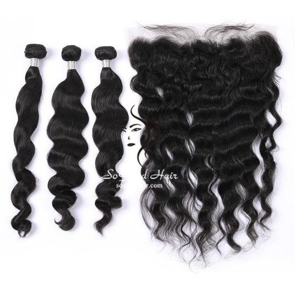 3 Bundles With 13x4 Lace Frontal Loose Wave - sogoodhair