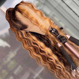 Honey Brown Highlights Super Deep Wave Lace Frontal Wig