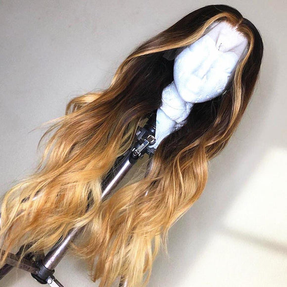 Pearl Look Blonde Dark Brown Ombre Flowing Body Wave Lace Frontal Wig