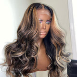 Highlights Honey Brown Loose Body Wave Lace Frontal Wig
