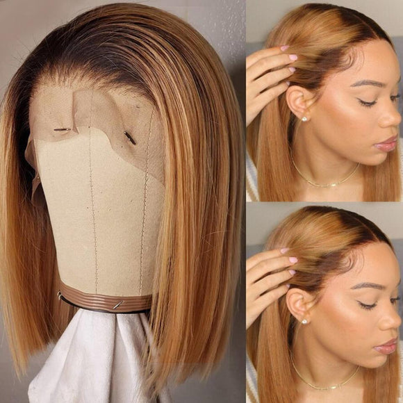 Black Roots Ombre Honey Brown Silky Straight Bob Lace Frontal Wig