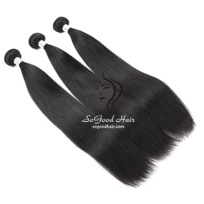 3 Bundles With 13x4 Lace Frontal Straight - sogoodhair