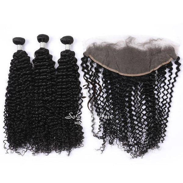 3 Bundles With 13x4 Lace Frontal Deep Curly - sogoodhair