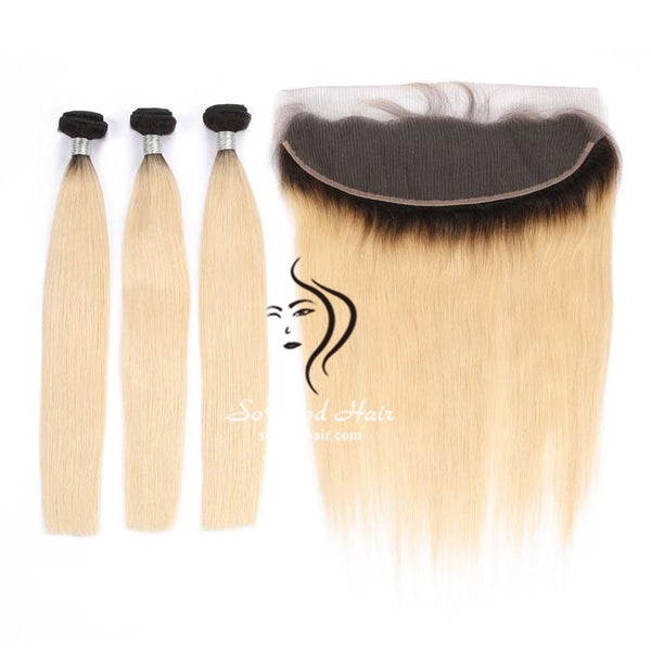 Ombre Blonde 3 Bundles With 13x4 Lace Frontal Straight - sogoodhair