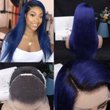Blue Straight 100% Human Hair Lace Frontal Wig