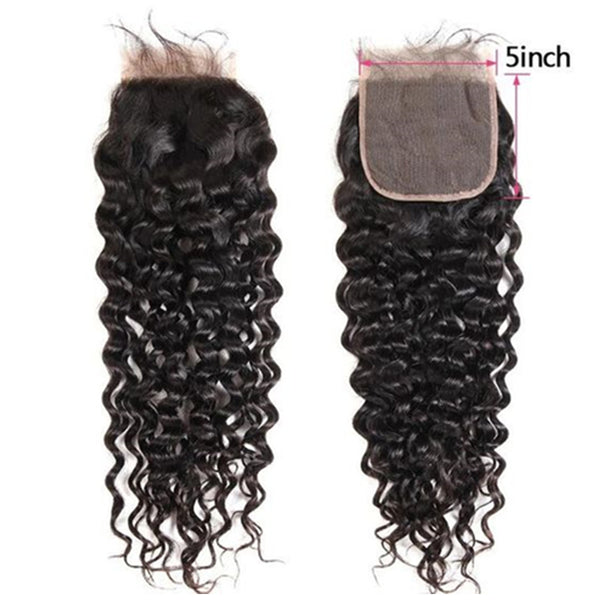 Brazilian Hair 5X5 Lace Closure Tight Water Wave Natural Color SoGoodHair--SG4001 - sogoodhair