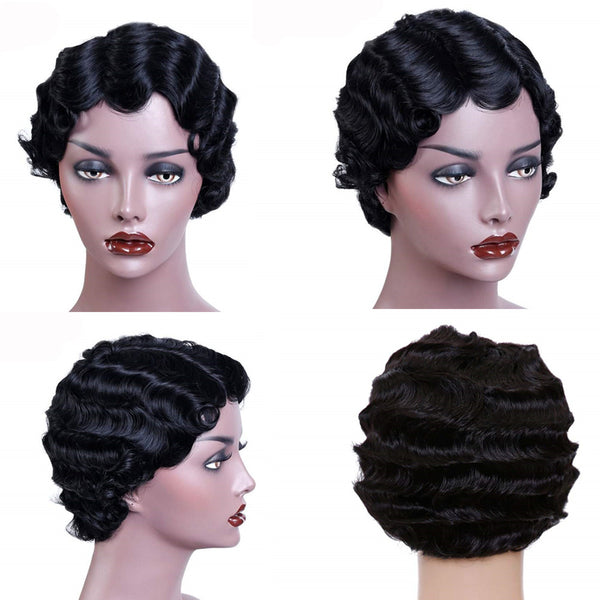 1920S Finger Wave Pixie | Virgin Human Hair Lace Wig - sogoodhair