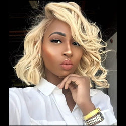 Blonde Jerry Curly| Pixie Cut Virgin Human Hair Lace Wig - sogoodhair