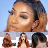 200% Density Liyah Ombre Brown Lace Frontal Wig