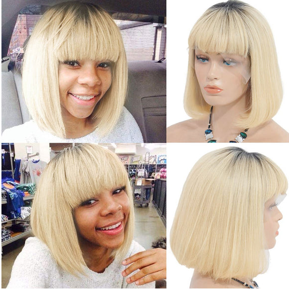 Ombre Blonde BOB With Bang | 150% Density - sogoodhair
