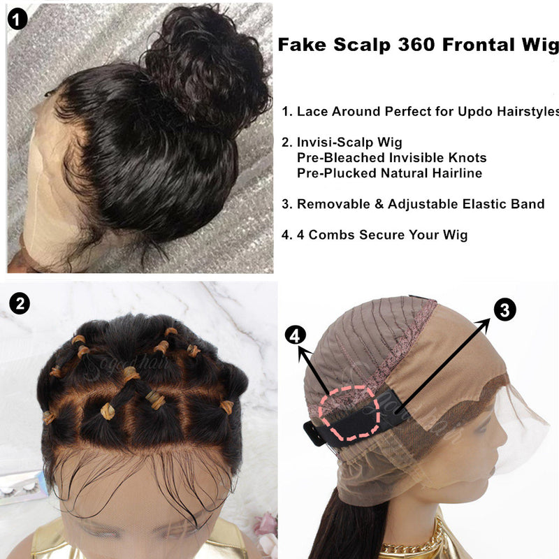 Muse Straight Fake Scalp 360 Frontal Wig