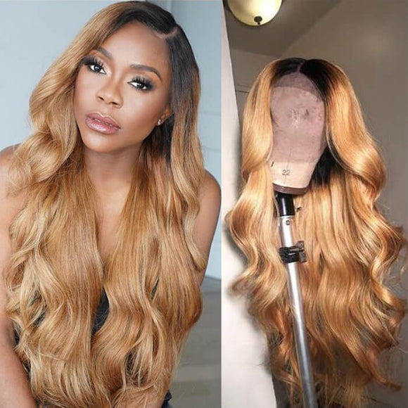 Pre-Plucked Ombre Blonde Lace Front Wig