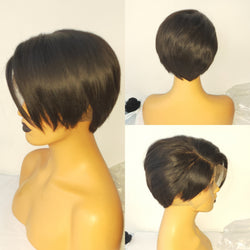 Side Part Straight| Pixie Cut Virgin Human Hair Lace Wig - sogoodhair