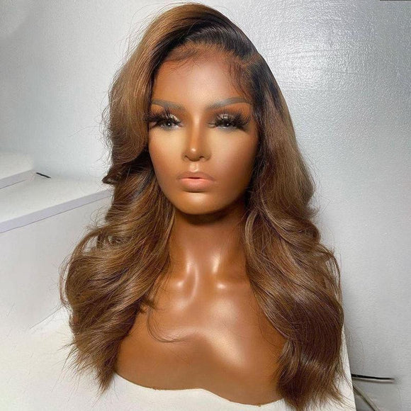 Black Roots Ombre Honey Brown Body Wave Lace Frontal Wig
