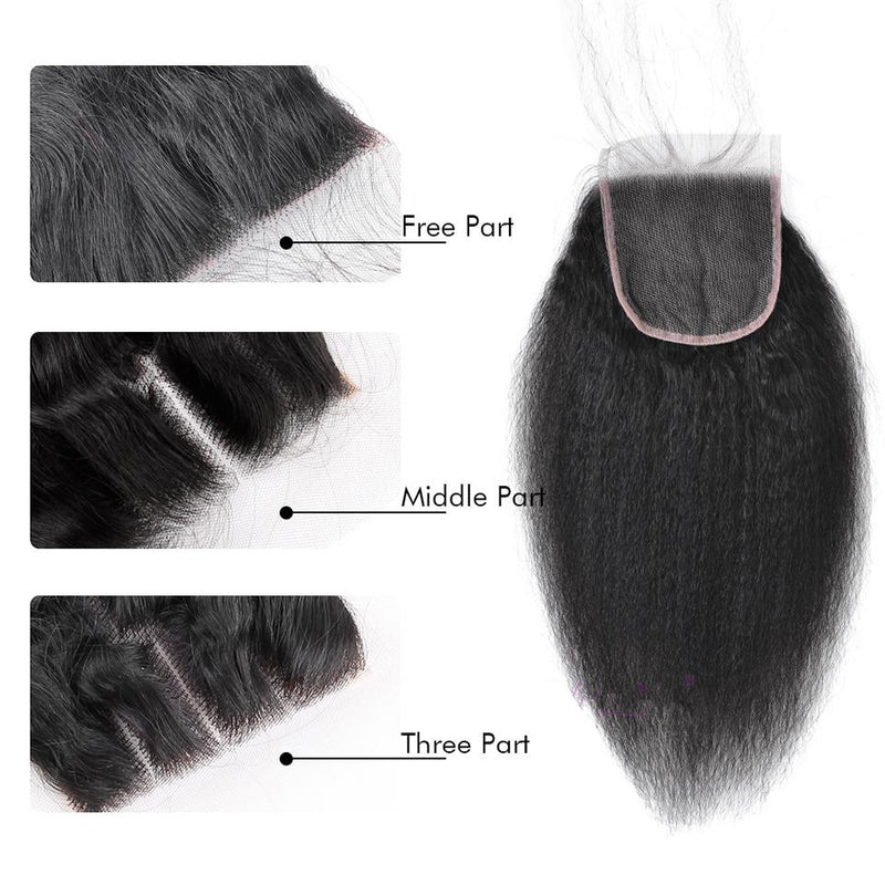 4x4 Kinky Straight Brazilian Virgin Hair Lace Closure