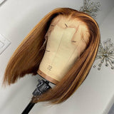 Honey Brown Piano Highlights Straight Bob Lace Frontal Wig