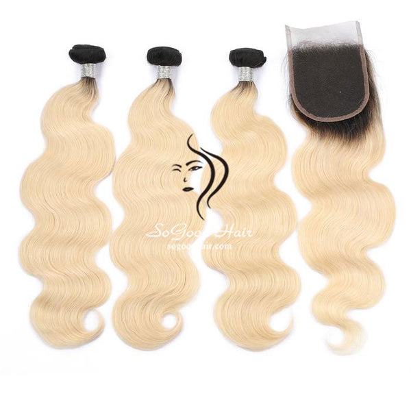 Ombre Blonde 3 Bundles With 4x4 Lace Closure Body Wave - sogoodhair