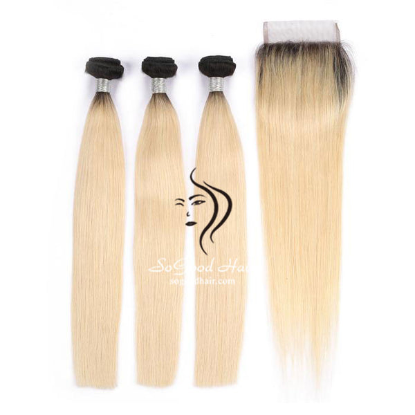 Ombre Blonde 3 Bundles With 4x4 Lace Closure Straight - sogoodhair