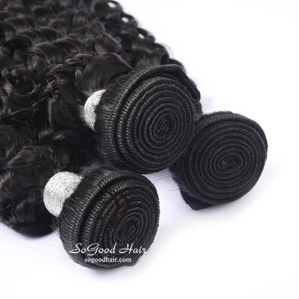 3 Pieces Deep Curly Natural Black Brazilian Virgin Human Hair Bundles 10-30 Inch - sogoodhair