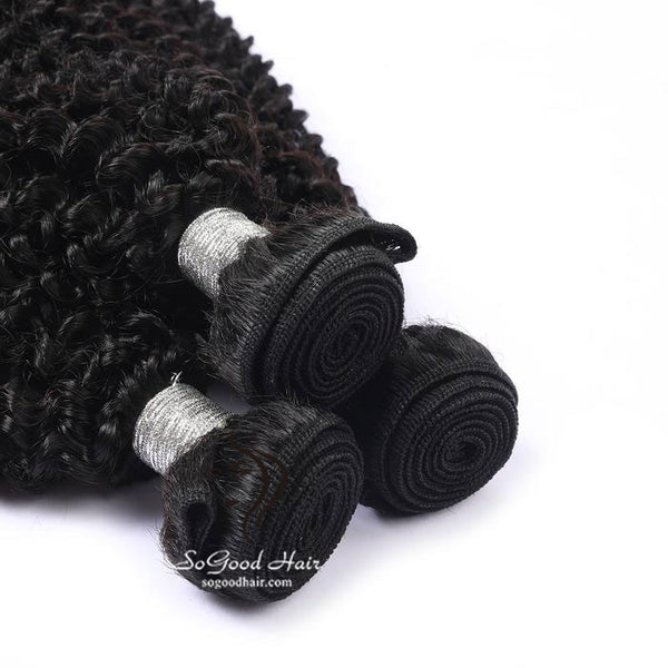 3 Pieces Kinky Curly Natural Black Brazilian Virgin Human Hair Bundles 10-30 Inch - sogoodhair