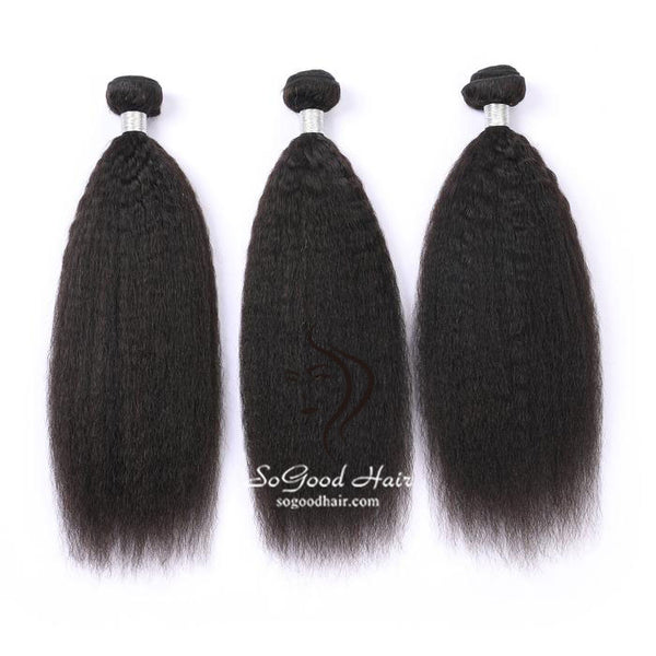 3 Pieces Kinky Straight Natural Black Brazilian Virgin Human Hair Bundles 10-30 Inch - sogoodhair