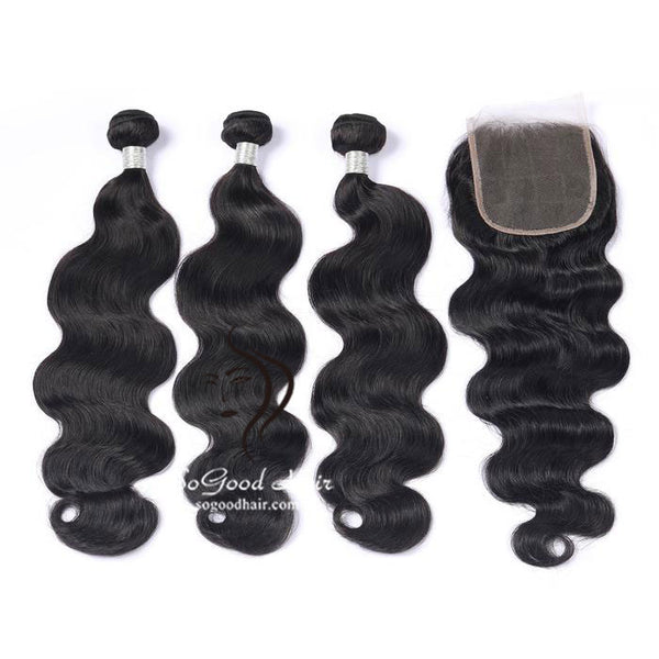 3 Bundles With Closure Body Wave Natural Color Brazilian Virgin Hair 10-24inch SoGoodHair--SG5111 - sogoodhair