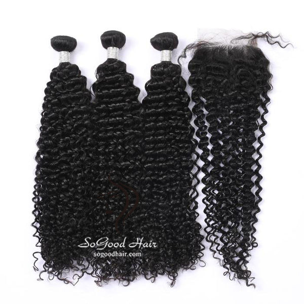 3 Bundles With Closure Deep Curly Natural Color Brazilian Virgin Hair 10-24inch SoGoodHair--SG5131 - sogoodhair