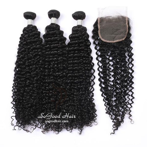 3 Bundles With Closure Deep Curly - sogoodhair