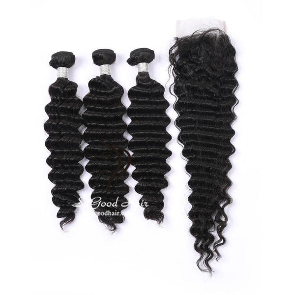 3 Bundles With Closure Deep Wave Natural Color Brazilian Virgin Hair 10-24inch SoGoodHair--SG5121 - sogoodhair