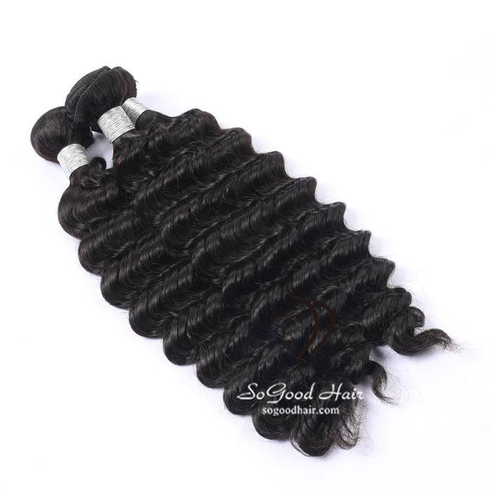 3 Bundles With 4x4 Lace Closure Deep Wave - sogoodhair