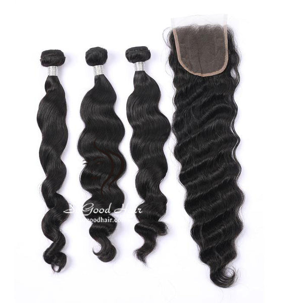 3 Bundles With 4x4 Lace Closure Loose Wave - sogoodhair
