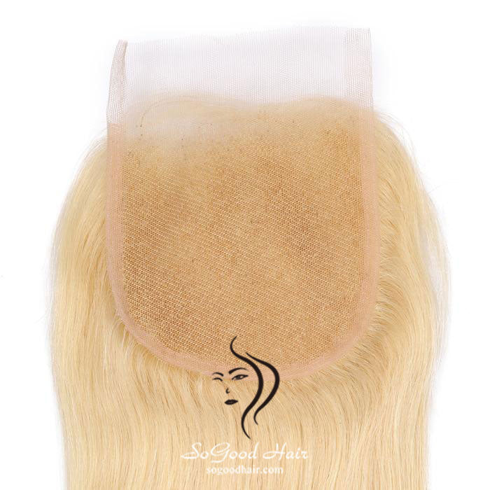 Blonde 3 Bundles With 4x4 Lace Closure Straight - sogoodhair