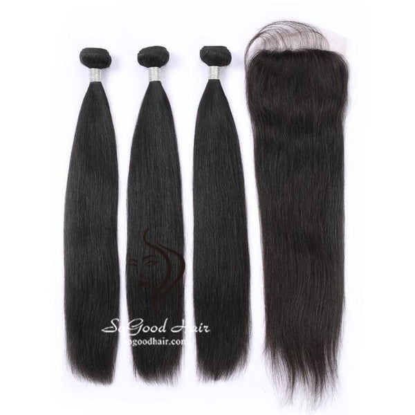 3 Bundles With 4x4 Lace Closure Straight - sogoodhair