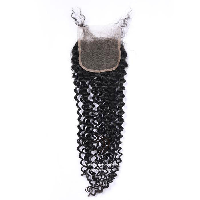 Brazilian Hair 4X4 Top Lace Closure Deep Curly Natural Color SoGoodHair--SG3131 - sogoodhair