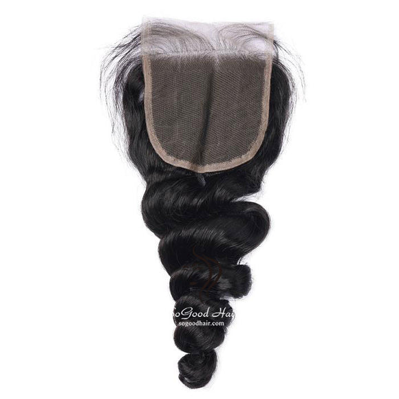 Brazilian Hair 4X4 Lace Closure Tight Loose Wave Natural Color SoGoodHair--SG3151 - sogoodhair