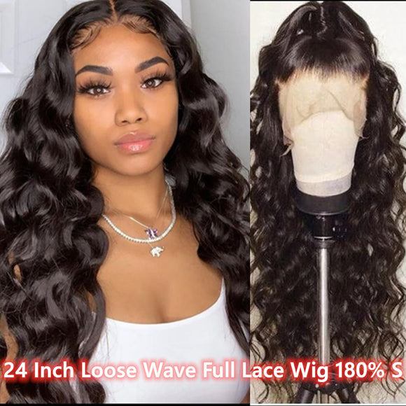 24 Inch Loose Wave Full Lace Wig 180%