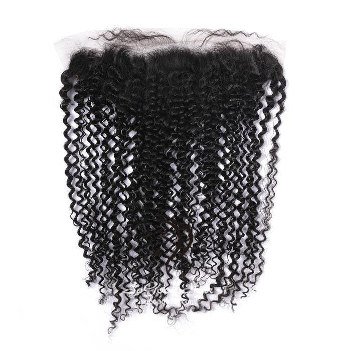 13X4 Deep Curly Natural Black Lace Frontal - sogoodhair