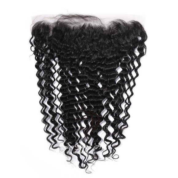 13X4 Deep Wave Natural Black Lace Frontal - sogoodhair