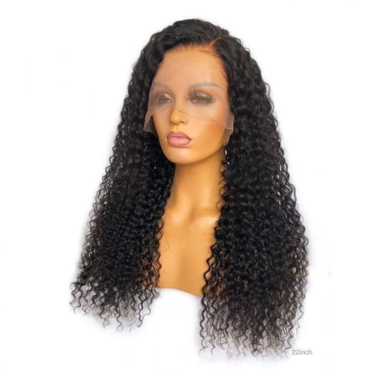 "200% 18""-24"" Curly HD Lace 6"" Lace Front Virgin Human Hair Wig"