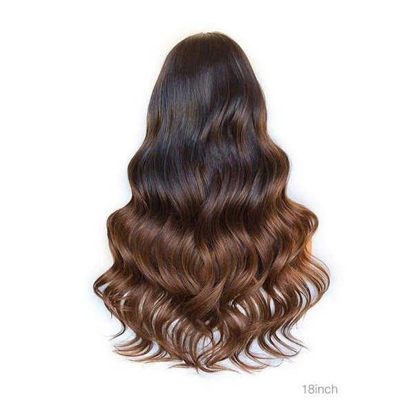 "Ombre Brown 200% 18""-24"" Body Wave HD Lace 6"" Lace Front Virgin Human Hair Wig"