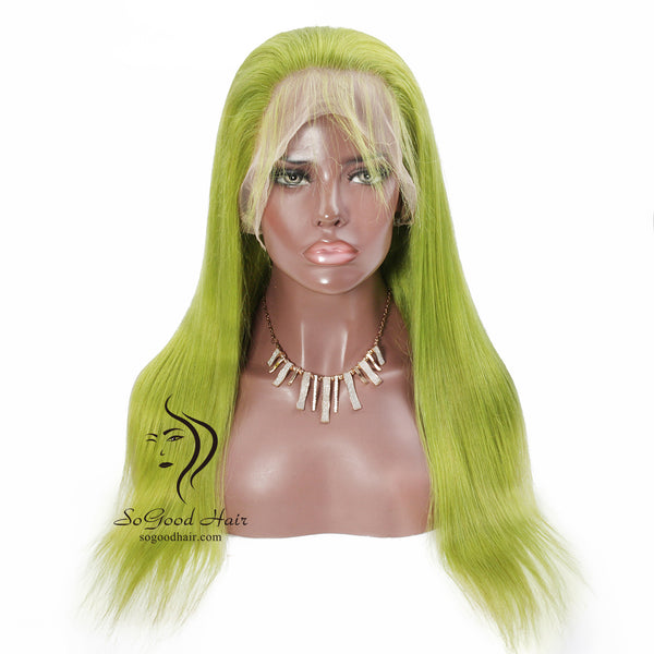 Human Hair Green Color 13*4 Lace Front Wig Straight Pre Plucked hairline SoGoodHair--SG1800 - sogoodhair