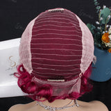 99J Curly Burgundy | Pixie Cut Virgin Human Hair Lace Wig - sogoodhair