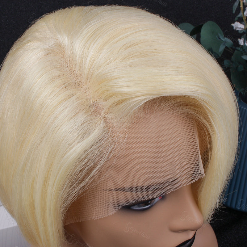 Blonde Side Bang| Pixie Cut Virgin Human Hair Lace Wig - sogoodhair