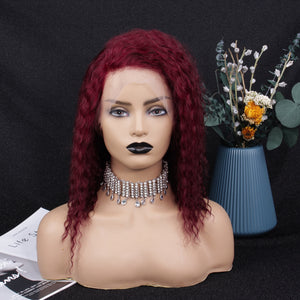 99J Burgundy Curly Lace Frontal Wig - SC018