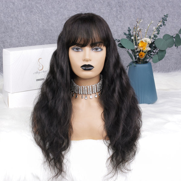 Ashail Body Wave With Bang | 13x6 Pre-Made Fake Scalp Lace Frontal Wig - sogoodhair